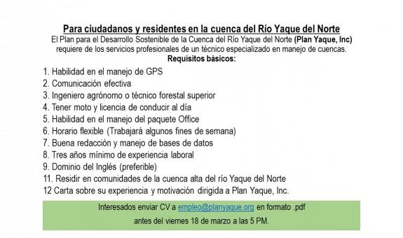 Plan Yaque, Inc. requiere de los servicios de un técnico especializado en manejo de cuencas