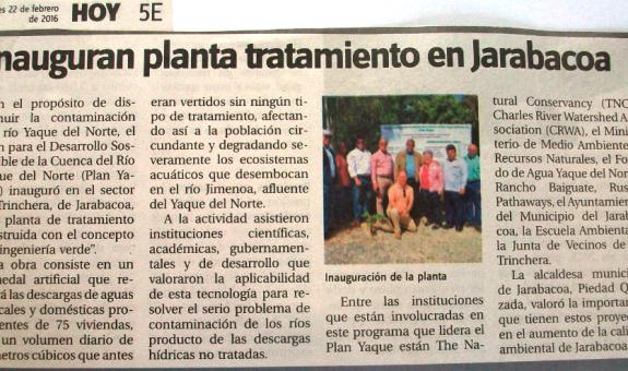 Compendio de la Publicación: Plan Yaque construye Plantas de Tratamiento de Aguas Residuales en Jarabacoa